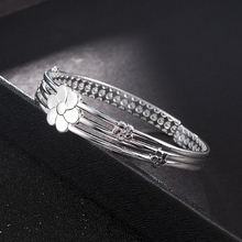 Jewelry Hot Women's Silver Open Bangle Bracelet Crystal Cuff Christmas Gifts Indian Jewelry Women Accessories