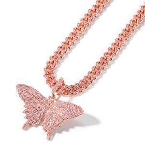 Image 4 - Uwin Monarch Butterfly różowy Rosegold CZ wisiorek z 9mm 12mm CZ kubański łańcuch Micro Pave Cubic naszyjnik cyrkoniowy biżuteria na prezent