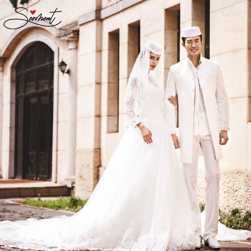 SERMENT 2019 Long Sleeve Muslim Wedding Dress White Ivory White Soft Satin High Collar Floor-Length Lace Up Couple Wedding Dress