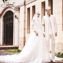 SERMENT 2019 Long Sleeve Muslim Wedding Dress White Ivory Soft Satin High Collar Floor-Length Lace Up Couple
