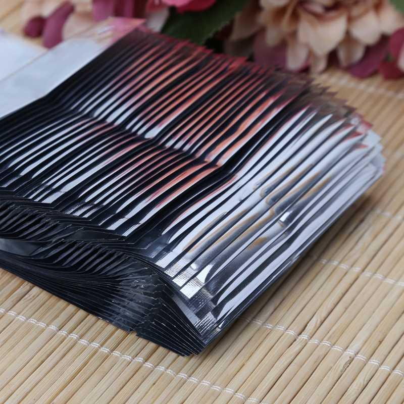 50 STÜCKE Translucent beschichtung aluminium druckverschlussbeutel-Wiederverschließbare Silber Metallic mylar folienbeutel reißverschluss clip löschen Front