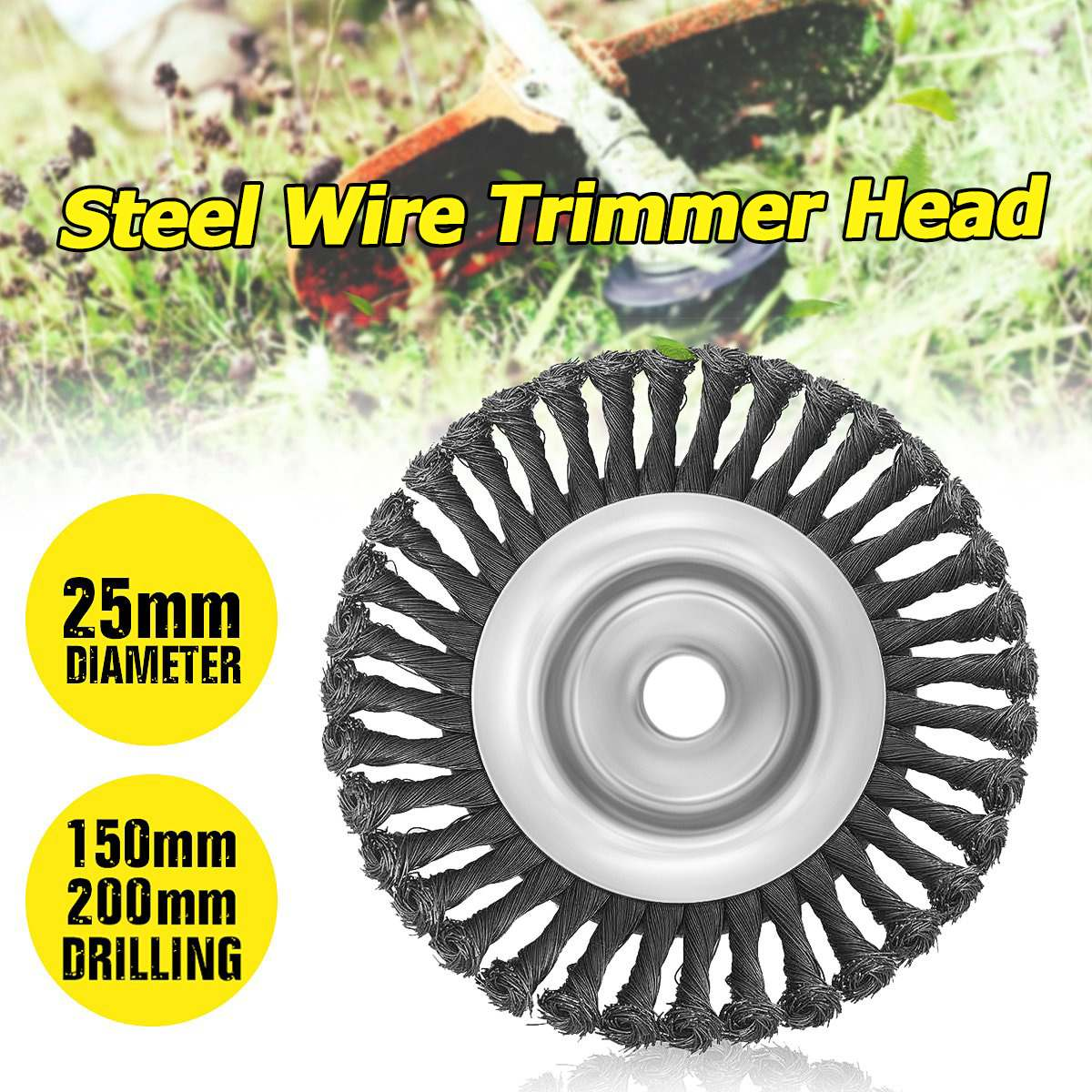 6/8 Inch Grass Trimmer Head Steel Wire Trimming Head Rusting Brush Cutter Mower Wire Weeding Head For Lawn Mower