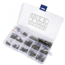 662PCS M2.5 Stainless Self Tapping Screws Screw Set 304 Stainless Steel Pan Head Cross Machine Screw+Flat/Elastic Washer+Nut m3 304 stainless steel phillips pan washer head self tapping screw