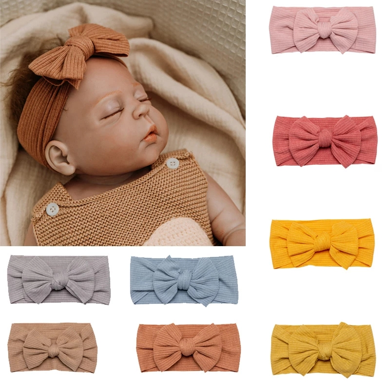 Dziecko bawełna Bowknot pałąk stałe dziewczyny dzieci Twist Knot HairBand Baby Girl opaski akcesoria do włosów prezenty świąteczne