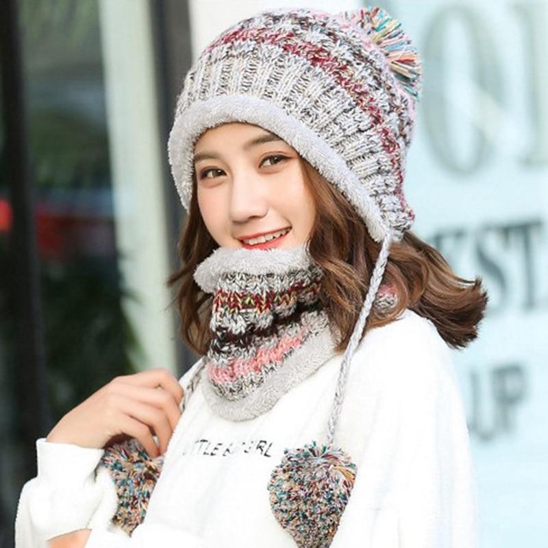 Fashion Knitted Hat Scarf Set  Women Winter Warm Thicken Crochet Bobble Pom Pom Beanie Hat Cap Outdoor Ski Snowboard Cycle