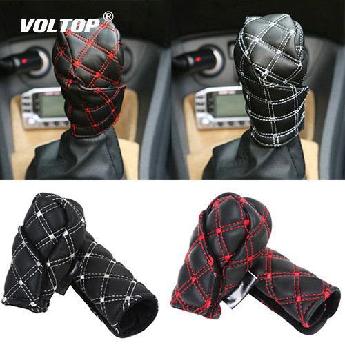 2Pcs/Set gear shift knob covers boot for decorations Faux Leather Hand Brake Case Car Interior Decor Shift Knob Shell
