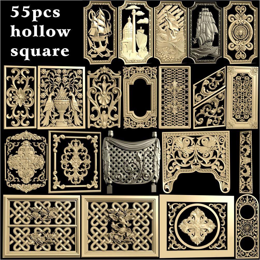 55 pçs oco painel quadrado design 3d modelo stl alívio para cnc roteador 3 eixos gravador artcam aspire cut3d quadrado esculpido painel
