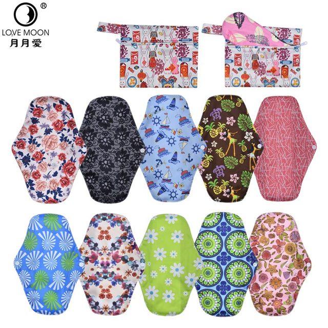 12 pcs  mestrual pads pouch washable Sanitary towel reusable sanitary pad absorbent charcoal bamboo menstrual pads