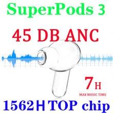 1562h chip superpods 3 45db real anc tws 1:1 com texto sem fio bluetooth fone de ouvido com cancelamento ruído fones 12d super bass
