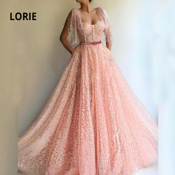 LORIE New Design Cap Sleeve Pink Prom Dresses Long for Women Open Back A-line Sparkle Sequin Formal Evening Gowns with Belt