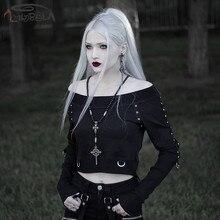 Imily Bela Gothic Sweatshirt Women Off Shoulder Slash Neck Black Button Short Pullovers Long Sleeve Crop Top Casual Streetwear
