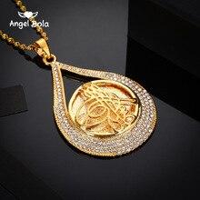 Turcja wisiorek w kształcie monety Allah naszyjnik dla kobiet/mężczyzn złoty kolor metalowe monety muzułmanin naszyjnik biżuteria Turk prezenty z AAA Rhinestone