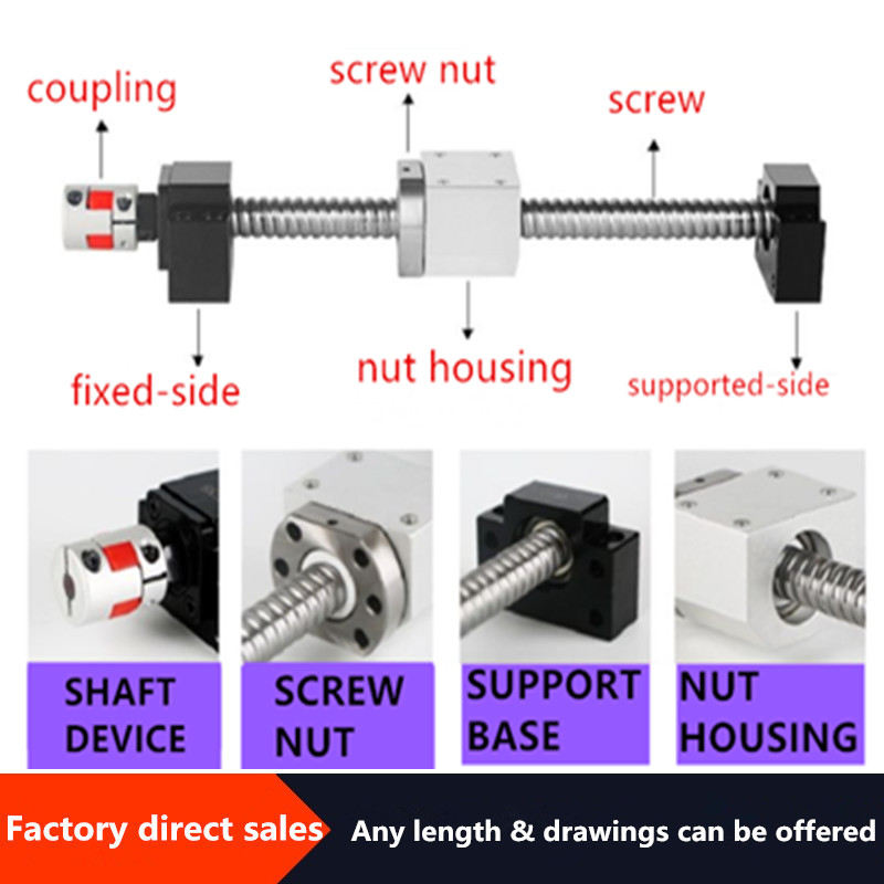 CNC Ballscrew Set : 12mm Ball Screw SFU1204-650mm End Machined + RM1204 Ball Nut + BK10 BF10 End Support+ Coupler+ Nut Housing
