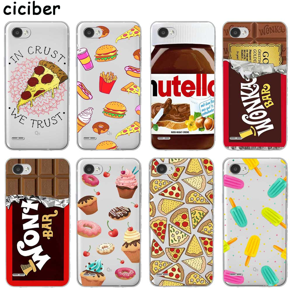 Cartoon Pizza Chocolate For LG K10 K8 K7 K4 2017 2018 K9 K11 K50 V40 V35 V30 V20 THINQ G7 G6 G8 Q60 Soft Silicone TPU Phone Case