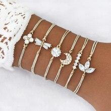 LETAPI 6 Pcs/ Set Boho Woven Multilayer Leather Bracelets Crystal Moon Flower Leaves Charm Bracelet for Woman
