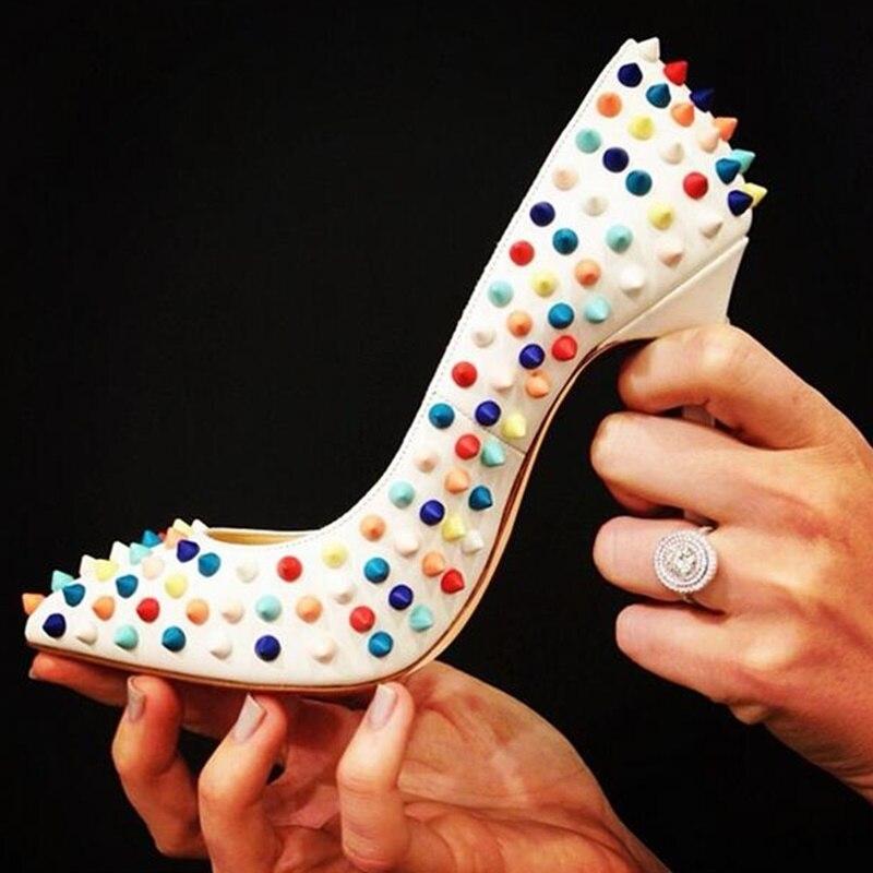 Luxe Rivets chaussures à talons hauts 12cm talons aiguilles pointes femmes chaussures habillées rouge blanc noir goujon chaussures de mariage mariée taille 45