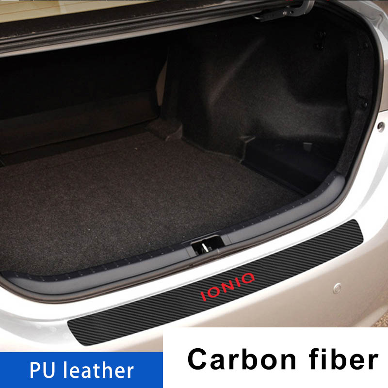 Car Trunk Door Guard Strips Sill Plate Protector FOR Hyundai Ioniq Rear Bumper Guard Leather Mouldings Pad