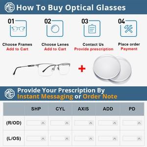 Image 5 - Merrys Ontwerp Mannen Titanium Legering Glazen Frame Mannelijke Vierkante Eye Bijziendheid Recept Brillen Mannelijke Helft Optische S2064