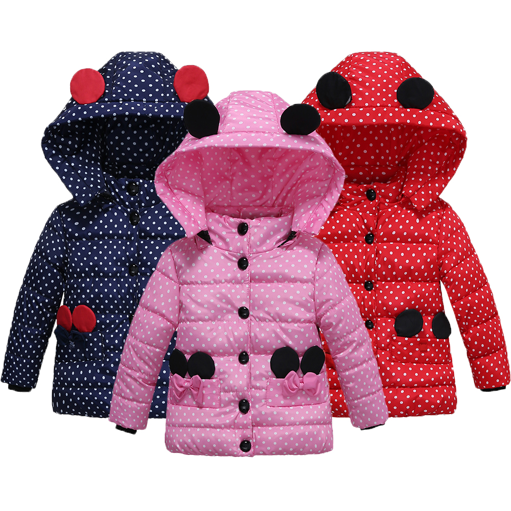 Minnie Girls Jacket New Cotton Winter Girls Coats Keep Warm Hooded Jacket For Girls Lovely Baby Kids Clothes Children Clothing
