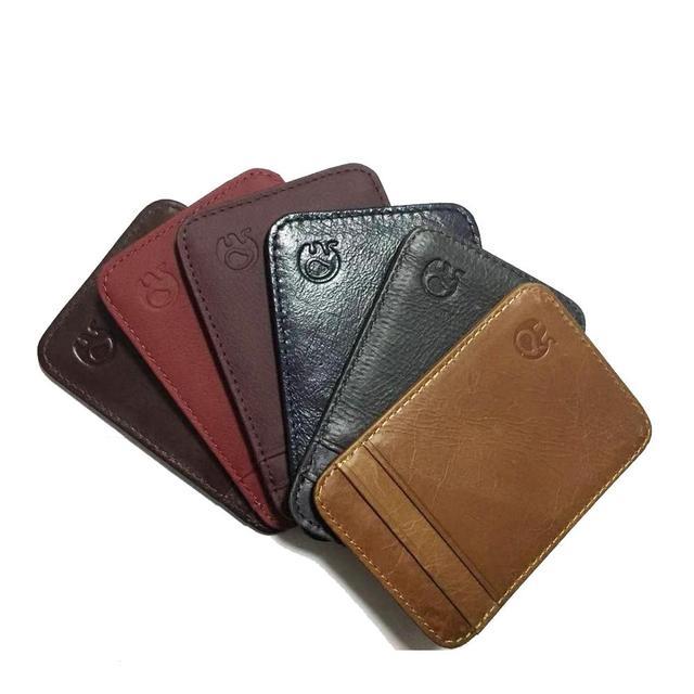 Fashion 100% Genuine Leather Thin Bank Credit Card Case Mini Card Wallet Men Bus Card Holder Cash Change Pack Business ID Pocket 1