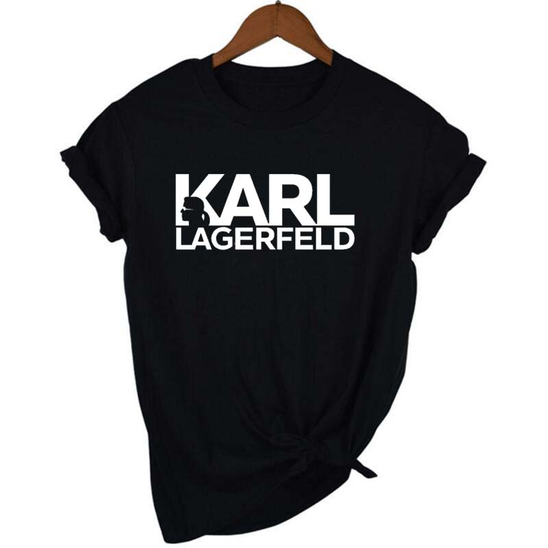 Karl Lagerfeld T Shirt women <font><b>Unisex</b></font> couple clothes graphic tees cat animal print Vogue <font><b>bts</b></font> tshirt femme streetwear korean style image