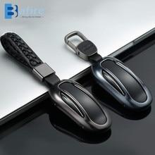 BAFIRE רכב מפתח עור מקרה כיסוי עבור טסלה דגם S דגם X עם חגורת אלומיניום סגסוגת מפתח מעטפת אחסון תיק מגן סטיילינג