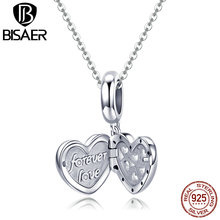 BISAER Authentic 925 Sterling Silver Openwork Heart Gift Box Charms fit for Women 3mm Bracelet and Necklace Fine Jewelry GXC1029 a suit of gorgeous leaf rhinestone openwork necklace bracelet ring and earrings for women