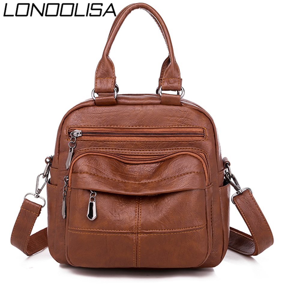 Many Pocket Vintage Women Backpacks PU Leather Backpack Shoulder Bags For Women 2019 Female Back Pack Rucksack Feminine Mochilas
