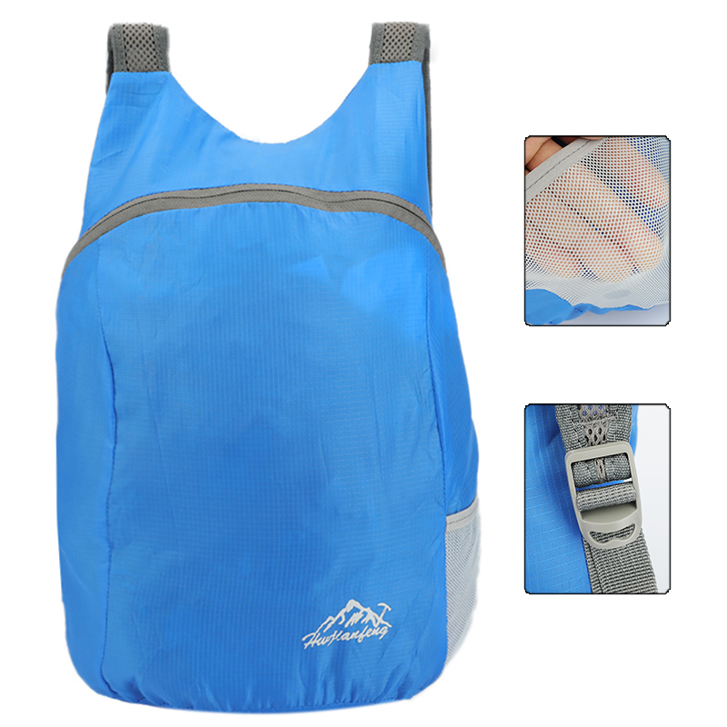 2020 Outdoor Folding Backpack Polyester and Breathable Waterproof Outdoor Light Portable Travel Bag Shoulder Strap nano daypack