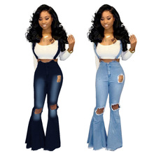 Flared Pants Jeans Denim Overalls Distressed Wide-Leg Fashion-Washed High-Waist Women