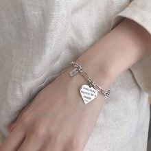 De corazón de Plata de Ley 925 pulsera para las mujeres carta cuadrado de plata tailandesa joya pulsera para regalos S-B475