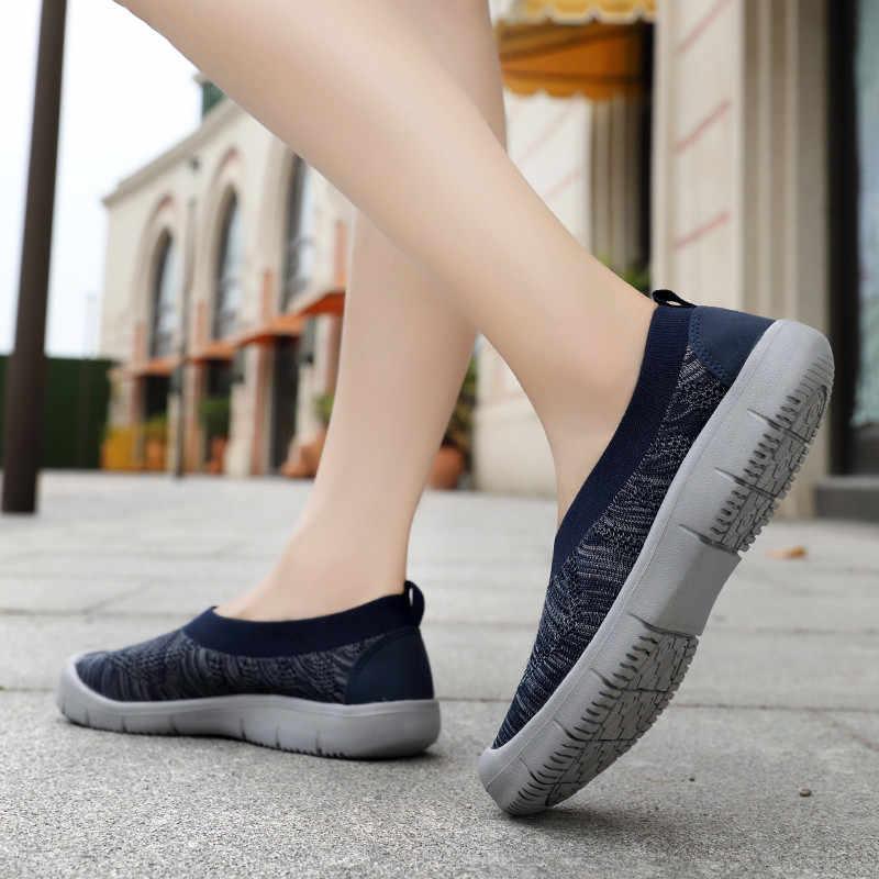 Pinsen new sneakers flats 여성 신발 통기성 여름 신발 여성 캐주얼 슬립 온 워킹 플랫 여성 신발 chaussures femme