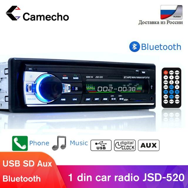 Camecho Bluetooth AutoradioรถสเตอริโอวิทยุFM Aux Input Receiver SD USB JSD 520 12V In Dash 1 DinรถMP3 เครื่องเล่นมัลติมีเดีย