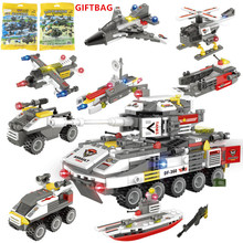 8Pcs/lot Military Attack Team ARMY Armoured Fighting Vehicle Building Blocks Sets Technic LegoINGLs Playmobil Bricks Toys Gifts
