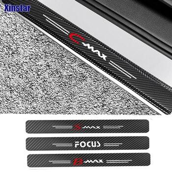 цена на 4pcs Carbon fiber car Sticker for ford focus cmax smax Car Door Sills Guards Stickers