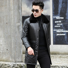 Leather Jacket Men Cow Leather Duck Down Winter Coat Real Mink Fur Collar Genuine Leather Jacket Mens Leather Jacket SY56N YY912(China)
