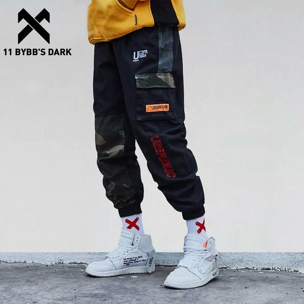 11 BYBB'S DARK Camouflage Patchwork Side Pocket Cargo Pants Men Harajuku Streetwear Harem Joggers Track Hip Hop Trousers