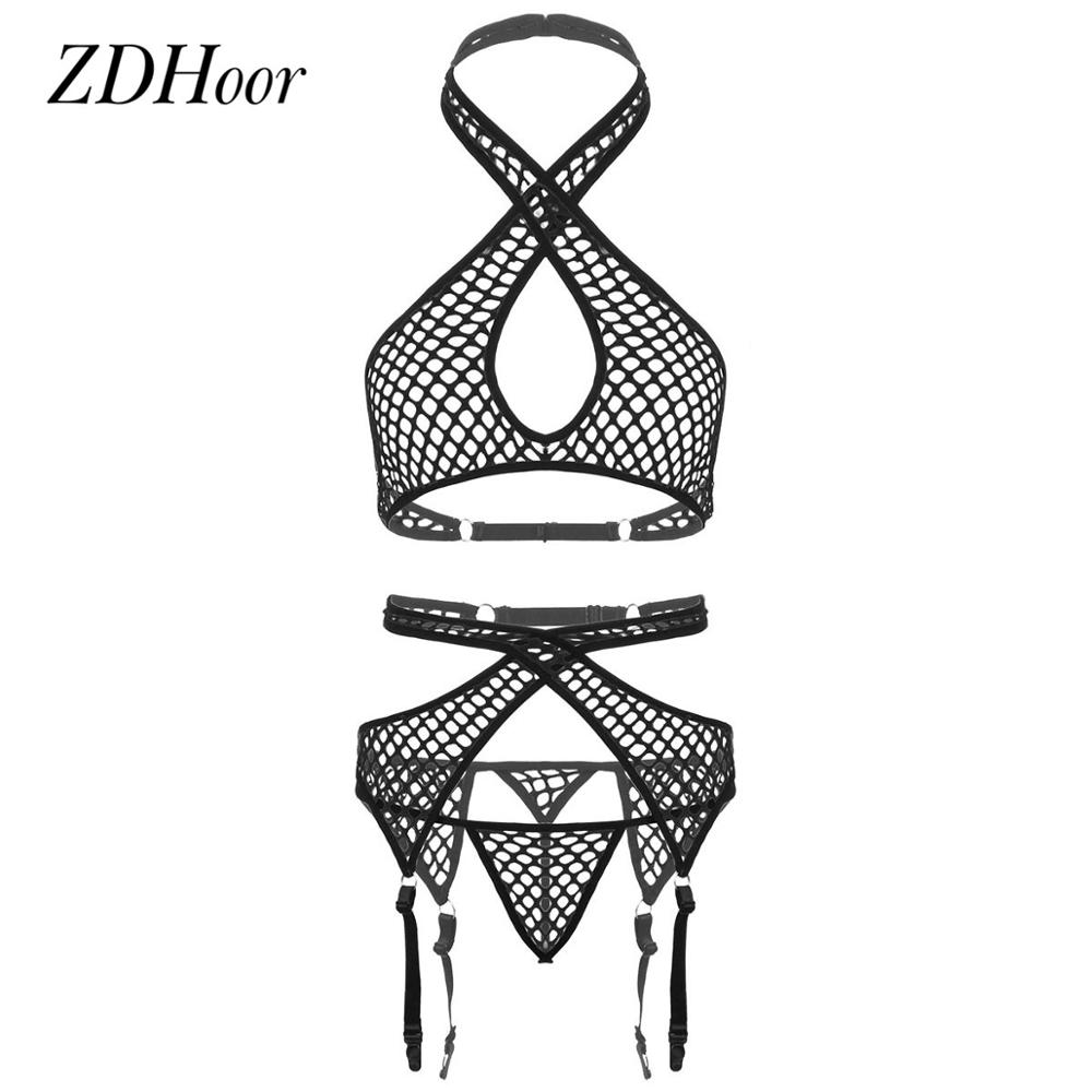 Womens Hollow Out Netted Lingerie Set Sexy Fishnet Halter Neck Bra Top with Low Rise G-String Briefs Female Hot Erotic Nightwear