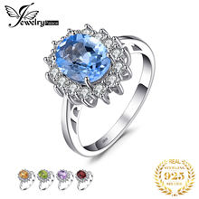JewelryPalace Princess Diana William Kate 2.3ct Blue Topazs Engagement Halo Ring For Women S925 Sterling Silver Jewelry