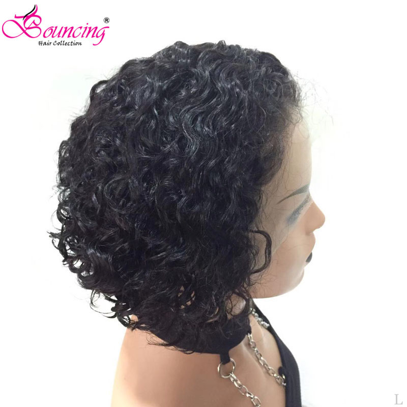 Bouncing Cury Short Bob Wigs 13x6 Lace Front Human Hair Wig #1B 150 Density With Baby Hair Brazilian Remy Human Hair Low Ratio