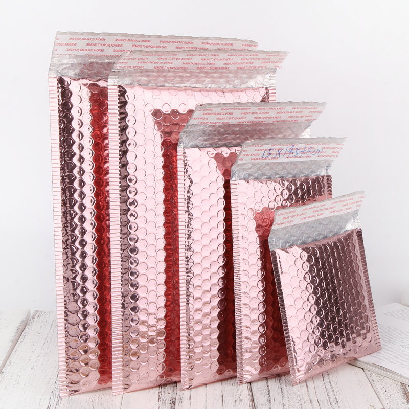 30pcs/lot  Multi-Size Rose Gold Aluminum Foil Shipping Mailing Bags Waterproof Express Bubble Bags For Gift Packaging Envelope