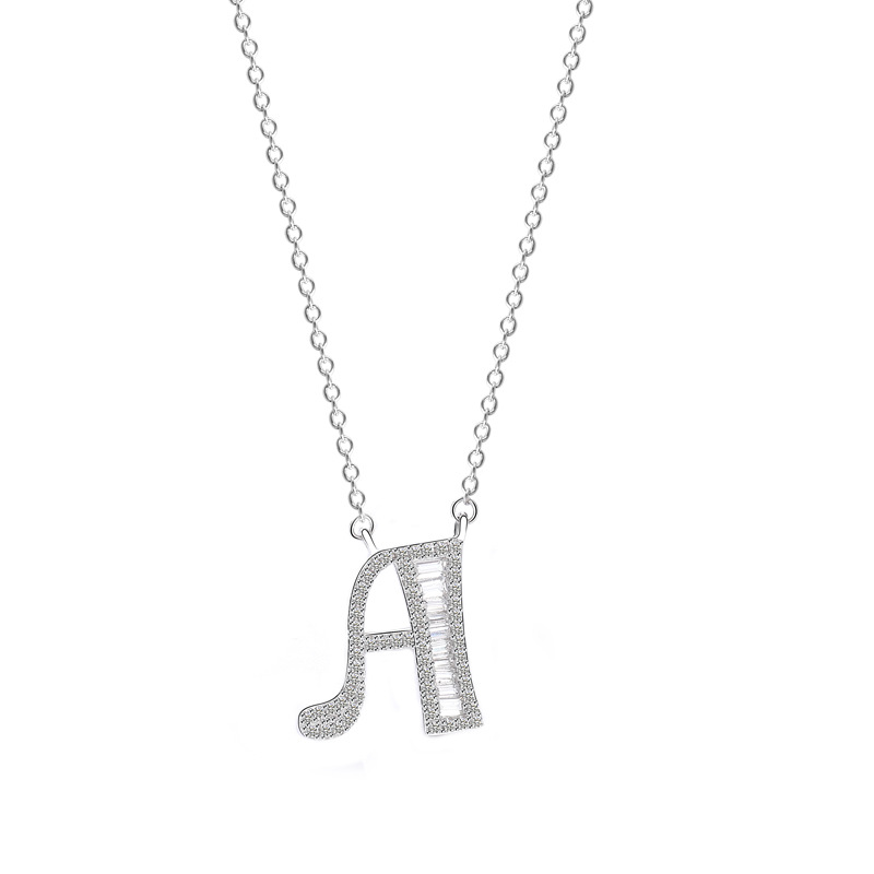Image 5 - 100% Genuine 925 Silver Initial CZ Necklace Personalized O Z Letter Necklace Name Jewelry For Women Accessories Girlfriend Gift-in Necklaces from Jewelry & Accessories