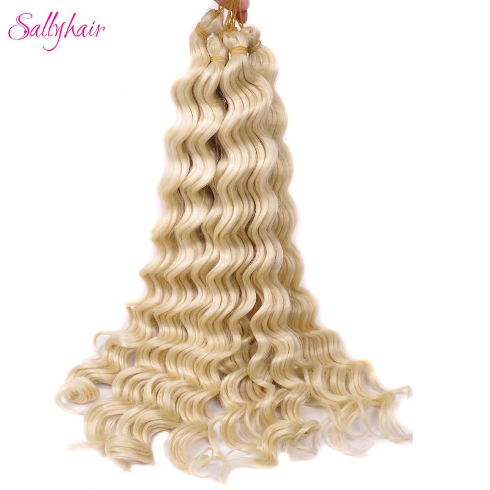 Sallyhair High Temperature Synthetic 12strands/pack 1pack/lot Deep Wave Braiding Crochet Braids Blonde Color Bulk Hair Extension