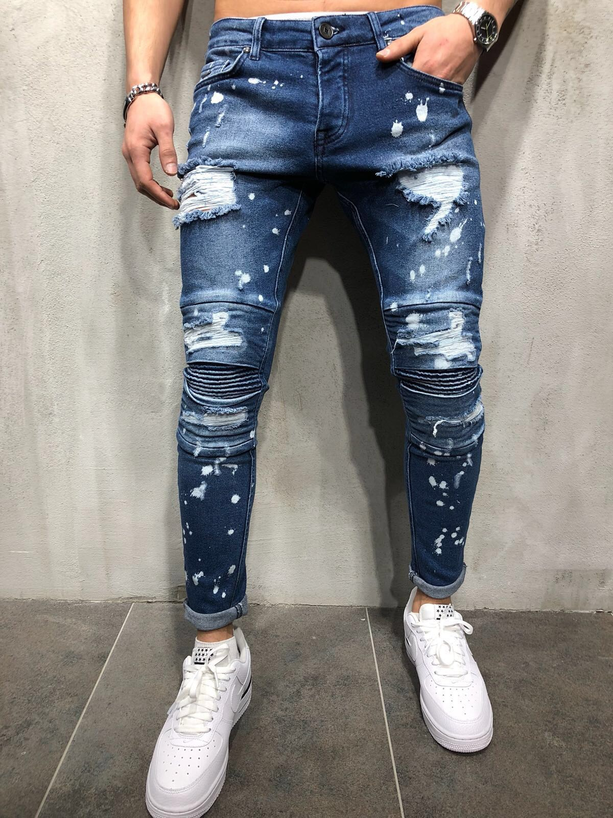 MEN'S WEAR Europe And America High Street Slim Fit Elasticity Jeans With Holes Paint Spraying Faded Trousers Pleated Skinny Pant