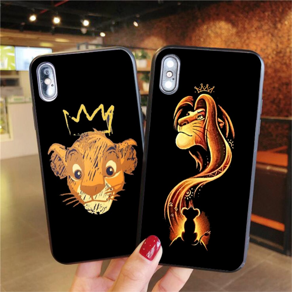 For iPhone 6 6S 7 8 Plus X XS MAX Lion King Simba Case For iPhone XS MAX X XR 11 Pro black Matte Soft Silicone Phone Cover