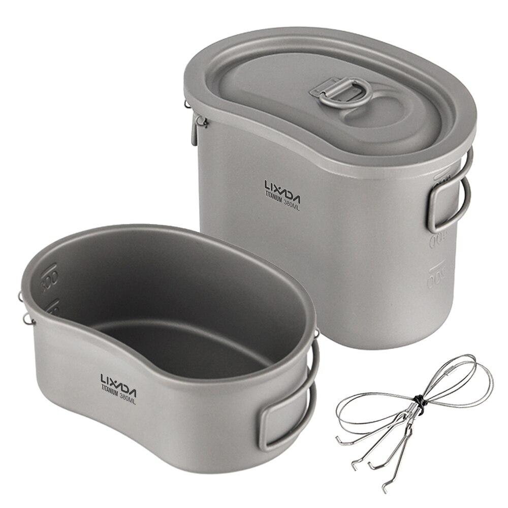 Titane cantine ensemble 750ml suspendus Pot pique-nique sac à dos voyage bol Camping sac boîte à déjeuner vaisselle tourisme Camping équipement