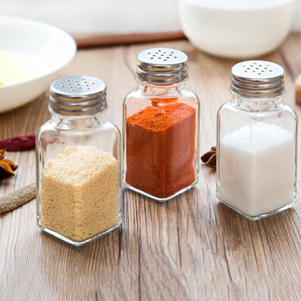 1 P Jar Ramuan Spice Penyimpanan Cap Memutuskan Kaca Stainless Steel Gula Garam Merica Shaker Cruet Bumbu Alat