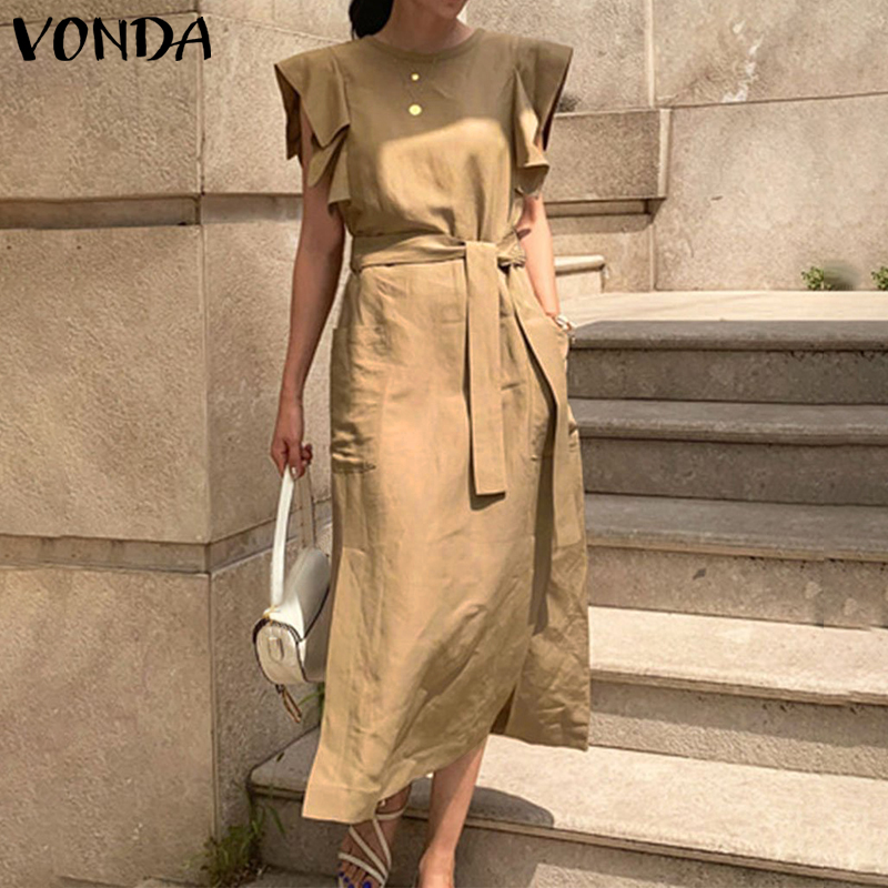 VONDA Sexy Sleeveless Summer Dress Ruffle Maxi Long Dress With Belt 2020 Women Bohemian Sundress Party Vestido Plus Size Robe