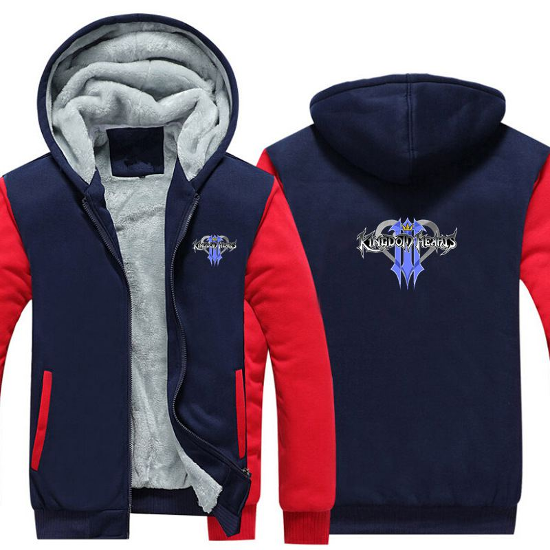 New Game Kingdom Hearts 3 Thicken Hoodie Sweatshirts Cosplay Costume Anime Winter Warm Coat Hooded Men Adult Clothing