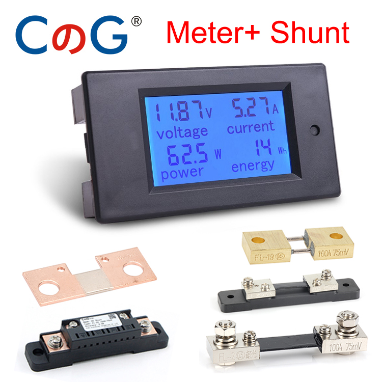 20A/50A/100A Digital DC 6.5-100V Voltmeter Ammeter LCD 4 In 1 DC Voltage Current Power Energy Meter Detector Amperimetro Shunt
